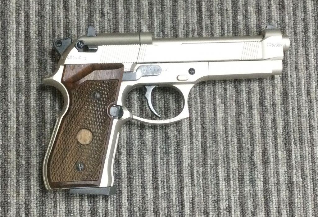 S/H Umarex Beretta M 92 FS NICKEL WOODEN GRIPS .177